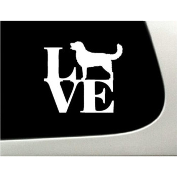 LOVE Golden Retriever Dog Puppy Text Vinyl Car Sticker Symbol Silhouette Keypad Track Pad Decal Laptop Skin Ipad Macbook Window Truck Motorcycle
