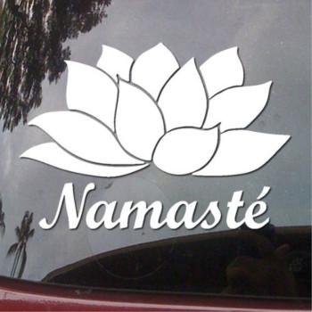 Namaste Flower and Text India Yoga Vinyl Car Sticker Symbol Silhouette Keypad Track Pad Decal Laptop Skin Ipad Macbook Window Truck Motorcycle