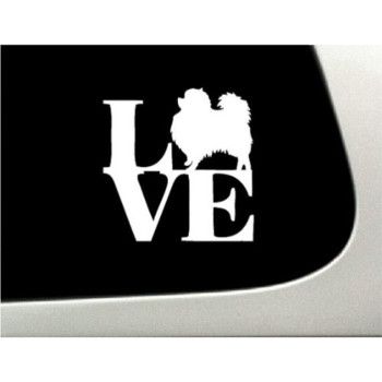 LOVE Pomeranian Dog Puppy Text Vinyl Car Sticker Symbol Silhouette Keypad Track Pad Decal Laptop Skin Ipad Macbook Window Truck Motorcycle
