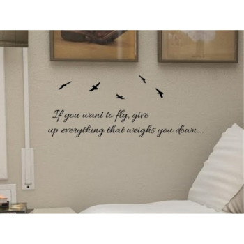 #2 If You Want to fly, Give up Everything That Weights You Down... 22x9 Inches Symbol Matte Black Vinyl Silhouette Keypad Track Pad Decal Window Wall Quotes Sayings Art Vinyl Decal