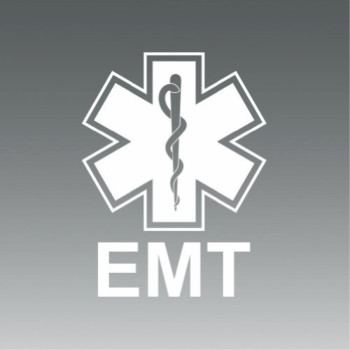 (2x) EMT - Sticker - Decal - White - Die Cut