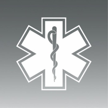 (2x) Star of Life - EMT Sticker #2 - Decal - White - Die Cut