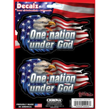 2PC Decal Sticker - USA American Flag Bald Eagle - One Nation Under God