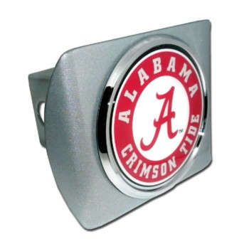 "University of Alabama ""Brushed Silver with Chrome Crimson Tide Seal"" NCAA College Sports Trailer Hitch Cover Fits 2 Inch Auto Car Truck Receiver"