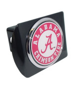 "University of Alabama ""Black with Chrome Crimson Tide Seal"" NCAA College Sports Metal Trailer Hitch Cover Fits 2 Inch Auto Car Truck Receiver"