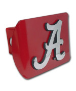 "University of Alabama ""Red with Chrome Crimson Tide Script A"" NCAA College Sports Metal Trailer Hitch Cover Fits 2 Inch Auto Car Truck Receiver"