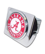 "University of Alabama ""Bright Polished Chrome with Crimson Tide Seal"" NCAA College Sports Metal Trailer Hitch Cover Fits 2 Inch Auto Car Truck Receiver"