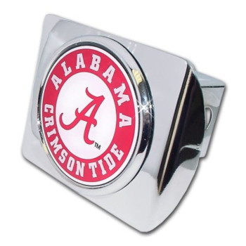 """University of Alabama """"Bright Polished Chrome with Crimson Tide Seal"""" NCAA College Sports Metal Trailer Hitch Cover Fits 2 Inch Auto Car Truck Receiver"""