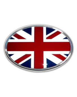 British Flag Oval Chrome Plated Metal Premium Car Auto Emblem