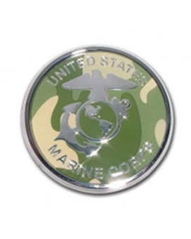US Marine Camo Seal Chrome Auto Emblem