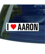 I Love Heart AARON - Window Bumper Sticker