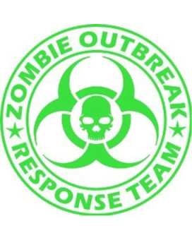 "Zombie Outbreak Response Team Skull Design - 5"" LIME GREEN Vinyl Decal Window Sticker by Ikon Sign"