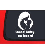 LOVED BABY ON BOARD - Foot Prints - Family car sticker decal vinyl window bumper