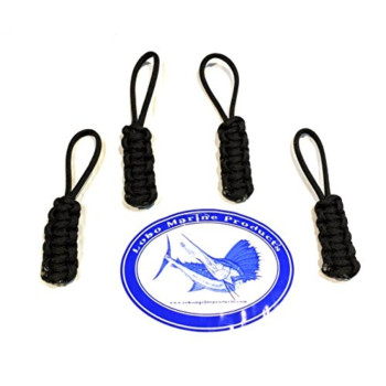 Lobo Marine Products 4 Pack Paracord Jeep Soft Top And Boat Enclosure Zipper Pulls Made in the USA Black