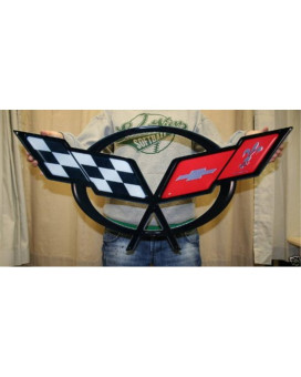 C5 Corvette Crossflag Wall Emblem Large Metal Art 97-04
