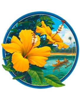 Yellow Hibiscus - Hawaiian Art Decal - Car Window Bumper Sticker