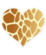 "Giraffe Animal Print Heart car bumper sticker 4"" x 4"""
