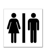 "Unisex Men Women Bathroom Sign sticker decal 8"" x 8"""