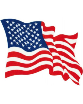 Waving USA Flag - Red, White & Blue - Bumper Sticker / Decal