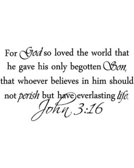 For God so loved the world that he gave his only begotten Son, that whoever believes in him should not perish but have everlasting life. John 3:16 religious decorations inspirational vinyl wall quotes decals sayings art lettering