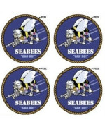 SeaBees US Navy Construction Battalion Seal Insignia - SET of 4 - Can Do - Window Bumper Laptop Stickers