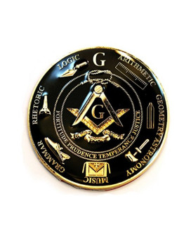 "Working Tools 7 Liberal Arts Round Black Masonic Auto Emblem - 3"" Diameter"