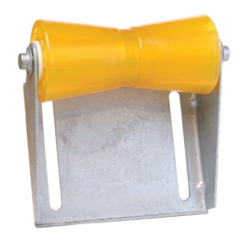 """Tie Down 86279 Amber 5"""" Keel Roller with Panel Bracket Assembly"""