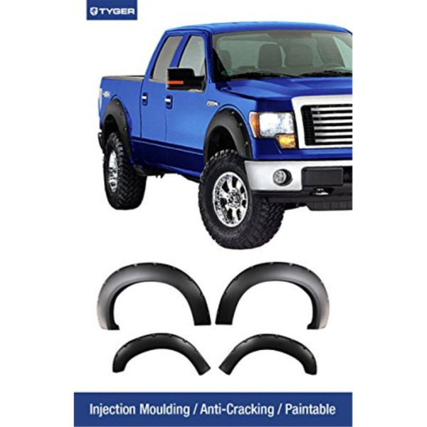TYGER 4pcs Matte Black Pocket Bolt-Riveted Style Fender Flare Set Fits  11-15 Ford F-250/F-350 Super Duty Pickup Truck  Injection Molding Paintable