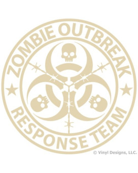 Zombie Outbreak Response Team Vinyl Decal, Truck and Car Window Sticker, 5x5 inches, Beige