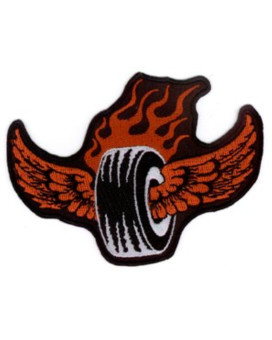 """Vulture Kulture - Smokin' Hot Flamin' Tire Biker Patch - 4"""" x 3"""" - Embroidered Patch"""
