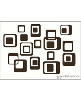 Wall Decor Plus More WDPM035 6-Inch and Smaller Funky Wall R/Squares Vinyl Sticker Decals, Chocolate Brown, 20-Piece