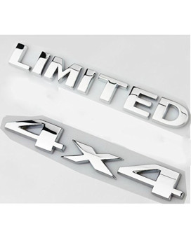 Yoaoo-oem 2pcs(1set) Auto Tuning 4 X 4 Chrome Logo 3d Decal Emblem Logo Sticker Liberty Nameplate Badge +Limited Trunk Hood Door for Ford Jeep Grand Cherokee Wrangler Compass (Chrome 4x4+Limited)