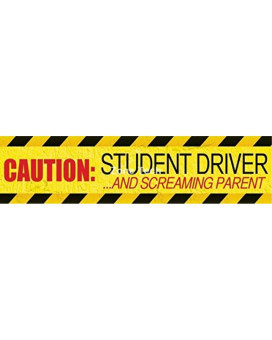"Zone Tech ""Caution Student driver and Screaming Parent"" Car Magnet Funny New Driver Magnet 12"" X 3""- 1 Pack"