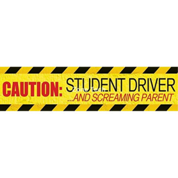 """Zone Tech """"Caution Student driver and Screaming Parent"""" Car Magnet Funny New Driver Magnet 12"""" X 3""""- 1 Pack"""