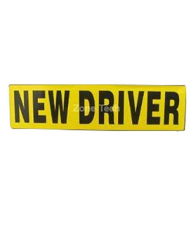 "Zone Tech ""New Driver"" Effective Car Magnet Black Block Lettering on Neon Yellow Background 3"" X 12""- 1 Pack"