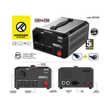 KRIÃ‹GER 1700 Watt Voltage Transformer 120V to from 230V AC outlet American European Step up down Converter 50 60 Hz outlets with 2.1A USB includes IEC German Schuko Nema 5-15P cord connection MET certified approved under UL CSA ULT1700