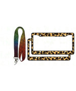 1 Key Chain Lanyard and 2 License Frame Covers - Leopard MulticolorTan