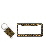 1 Key Chain and 1 License Frame Cover - Leopard Tan