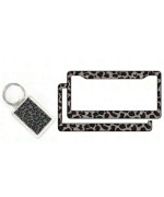 1 Key Chain and 2 License Frame Covers - Leopard Gray