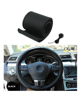 Antye Universal Leather Car Steering Wheel Cover Anti Slip 15'' Stitch on Wrap Cover with Needle & Thread, Black
