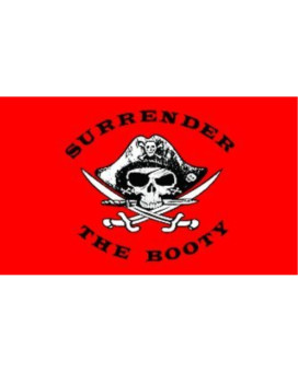 """ATV Surrender the Booty Safety Flag with 5/16"""" White Pole and Mounting Hardware"""