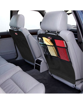 Kick Mats, AutoMuko Car Kick Mats with Organizer - Premium Thick Waterproof Quality Seat Back Protectors - Extra Long Size with Adjustable Straps - Car Seat Back Protectors (2 Pack) - With One-Year Limited Warranty