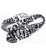 Black and White Leopard Lanyard Key Chain Holder