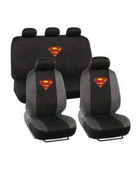 Warner Brothers Superman Seat Covers for Car SUV - Universal Fit Auto Accessories w/ Belt Pad & Steering Wheel Cover