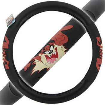 "Warner Brothers Taz Steering Wheel Cover - Comfort Grip, Licensed Design Auto Accessories, Fit 14.5"" to 15.5"""