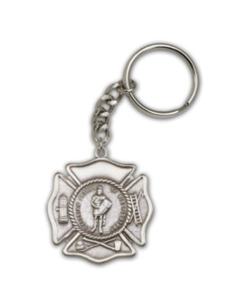 Antique Silver St. Florian Keychain Patron Saint of (Patronage) Fireman, Fire Fighters, against battles, against fire, Austria, barrel-makers, brewers, chimney sweeps, coopers, drowning, fire prevention, firefighters, floods, harvests, Linz Austria, Polan