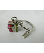 COACH Legacy Stripe Present Gift Key Chain / Purse Fob in Silver / Multi 62717