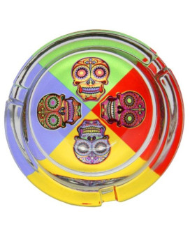 """Day of the Dead 4 Sugar Skulls with Crosses Glass Ashtray - 3.25"""""""