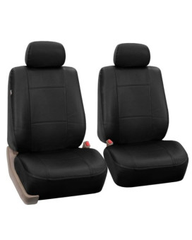 Univerisal Front Car Seat Cover Airbags Readay Solid Black Leather Pu002 BLK Front