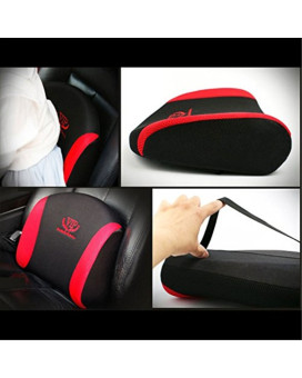 VIP Red Black Mesh Memory Form Car Seat Cushions Waist Back Cushion Pillow Pad for Car Motors Auto Vehicle(1pack)